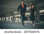 couple running in an urban... | Shutterstock . vector #287506076