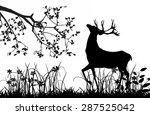Stock vector deer under tree black silhouette isolated on white 287525042