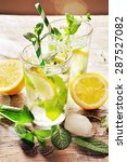 iced mint tea with lemon and... | Shutterstock . vector #287527082