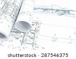house sketch with engineering... | Shutterstock . vector #287546375