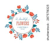 fun flowers round composition.... | Shutterstock .eps vector #287578325