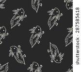 salamander doodle seamless... | Shutterstock .eps vector #287585618