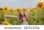 happy woman in beauty field... | Shutterstock . vector #287615336