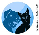 Stock vector circle vector illustration of stylized cat and dog silhouettes 287616872