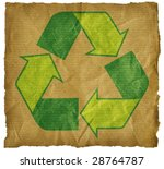 torn brown paper with recycle... | Shutterstock . vector #28764787