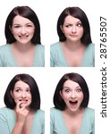 Stock photo beautiful brunette passport photo style range of expressions 28765507