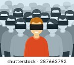 many people wearing virtual... | Shutterstock . vector #287663792