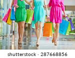 group of shoppers in bright