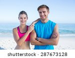 happy couple smiling at camera... | Shutterstock . vector #287673128