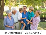 happy family in the park on a... | Shutterstock . vector #287673452