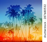 vector palms silhouettes... | Shutterstock . vector #287680532