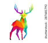 rainbow reindeer vector low... | Shutterstock .eps vector #287681792