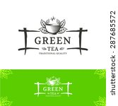 green tea vector logo design...