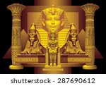 pharaoh with two sphinxes... | Shutterstock .eps vector #287690612