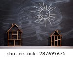 symbolic wooden house isolated...   Shutterstock . vector #287699675