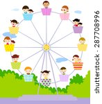 kids and the ferris wheel   ... | Shutterstock .eps vector #287708996