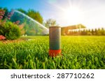 lawn sprinkler in action.... | Shutterstock . vector #287710262