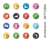 isolated sport icons in flat
