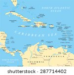 caribbean political map with... | Shutterstock .eps vector #287714402