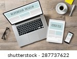 closeup shot of laptop with... | Shutterstock . vector #287737622