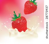 realistic strawberry milk splash | Shutterstock .eps vector #28773937