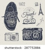 travel photo label with retro... | Shutterstock .eps vector #287752886
