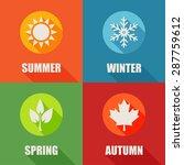 Season Flat Icons Set With Lon...