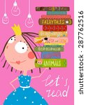 clever cute little girl reading ...   Shutterstock .eps vector #287762516