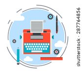 retro typewriter flat design... | Shutterstock .eps vector #287764856