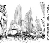 City Hand Drawn  Vector...