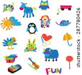 zebra fun yellow sun | Shutterstock .eps vector #287780426