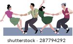 two young couple dressed in... | Shutterstock .eps vector #287794292