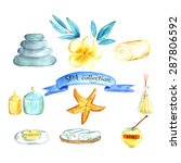 watercolor spa and wellness set ... | Shutterstock .eps vector #287806592