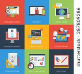 flat icons set web app... | Shutterstock .eps vector #287809286