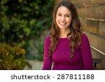 happy brunette feminist... | Shutterstock . vector #287811188