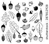 hand drawn doodle acorns.... | Shutterstock .eps vector #287812928