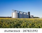 four silver silos in a wheat... | Shutterstock . vector #287821592