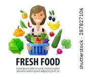 fresh food vector logo design... | Shutterstock .eps vector #287827106