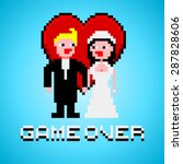 pixel art with married couple ... | Shutterstock .eps vector #287828606