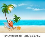 tropical seaside with palms  a... | Shutterstock .eps vector #287831762