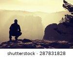 sitting hiker on the peak. ...   Shutterstock . vector #287831828