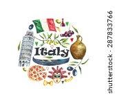 watercolor travel concept italy ... | Shutterstock .eps vector #287833766