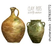 Watercolor Clay Pots. Hand Dra...