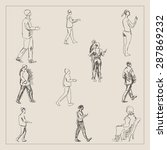 walking people drawing with man ... | Shutterstock .eps vector #287869232