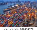 industrial port with containers | Shutterstock . vector #287883872