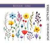 watercolor floral collection... | Shutterstock .eps vector #287943866
