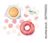 donut and tea  watercolor... | Shutterstock . vector #287950052