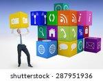 businessman bending and pushing ... | Shutterstock . vector #287951936