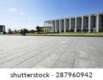 long empty footpath in modern... | Shutterstock . vector #287960942