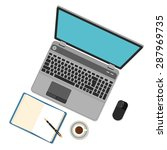 flat design laptop on table. | Shutterstock .eps vector #287969735